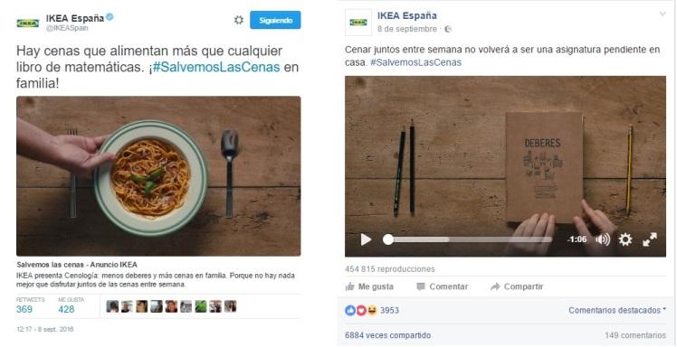 Vídeo orgánico Cenología de Ikea en Twitter y Facebook